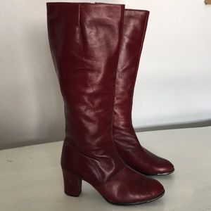 Vintage Etienne Aigner Red Leather Boots Size 7